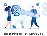 businessman aims with huge...   Shutterstock .eps vector #1942906258