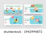 swimming lessons landing page...   Shutterstock .eps vector #1942994872