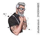 handsome muscular hipster guy... | Shutterstock .eps vector #1943044885