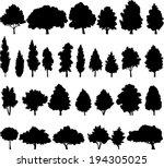 set of different deciduous... | Shutterstock .eps vector #194305025