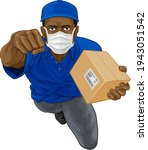 a courier delivery superhero...   Shutterstock .eps vector #1943051542