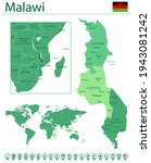 detailed map of malawi with...   Shutterstock .eps vector #1943081242