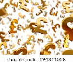 golden pound sterling signs... | Shutterstock . vector #194311058