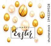 golden lettering happy easter...   Shutterstock . vector #1943239528