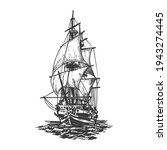 sailing ship  graphic hand... | Shutterstock .eps vector #1943274445
