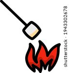iicon of camping fire with...