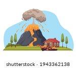 house in volcano eruption...   Shutterstock .eps vector #1943362138