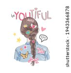 be you tiful slogan with girl... | Shutterstock .eps vector #1943366878