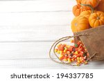 Candy Corn Spilling From Burlap ...
