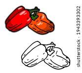 bell pepper or paprika outline...   Shutterstock .eps vector #1943393302