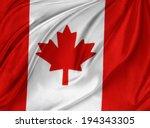 closeup of silky canadian flag | Shutterstock . vector #194343305