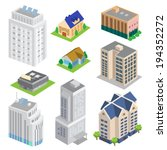 isometric building vector set | Shutterstock .eps vector #194352272