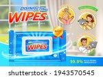 disinfecting wet wipes ad in 3d ...   Shutterstock .eps vector #1943570545