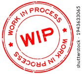 grunge red wip work in process...   Shutterstock .eps vector #1943633065