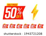half price label 50 percent and ... | Shutterstock .eps vector #1943721208