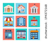 modern flat vector buildings... | Shutterstock .eps vector #194372168