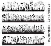 silhouette growing grass plants ... | Shutterstock .eps vector #1943758528