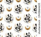 Serpent Pattern. Floral Snake...
