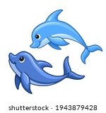 cute cartoon dolphins swimmng.... | Shutterstock .eps vector #1943879428