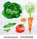 vegetables set drawn watercolor ... | Shutterstock .eps vector #194398388