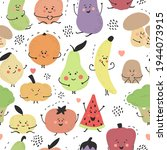 cute hand drawn fruits and... | Shutterstock .eps vector #1944073915