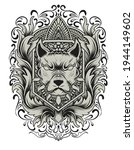 dog head with engraving ornament | Shutterstock .eps vector #1944149602