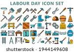 Set Flat Colored Vector Labour...