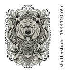 angry bear head with vintage... | Shutterstock .eps vector #1944150595