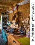 Small photo of NOVA VAS, SLOVENIA - Jul 18, 2020: A closeup of decorative wood pieces in a cabin at Hija Glamping Lake Bloke, Nova Vas in Slovenia