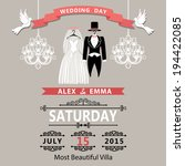 the wedding invitation with... | Shutterstock .eps vector #194422085