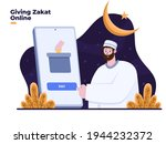 muslim people pay zakat with... | Shutterstock .eps vector #1944232372