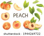 peach vector set with leaf  ...   Shutterstock .eps vector #1944269722