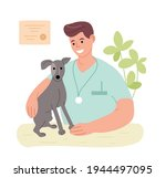 veterinarian in the office with ... | Shutterstock .eps vector #1944497095