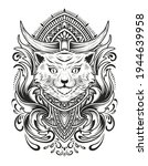 cat head with vintage engraving ... | Shutterstock .eps vector #1944639958