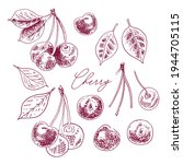 cherries with leaves on a... | Shutterstock .eps vector #1944705115