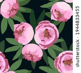 pink peonies with green leaves...   Shutterstock .eps vector #1944833455