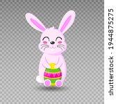 happy easter bunny. pink rabbit....   Shutterstock .eps vector #1944875275
