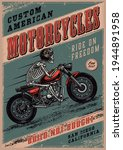 colorful vintage motorcycle... | Shutterstock .eps vector #1944891958