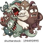 cartoon monsters. vector clip... | Shutterstock .eps vector #194493995