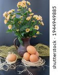 Still Life Of Easter Eggs And A ...