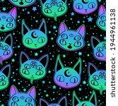 cute cartoon witchcraft cat... | Shutterstock .eps vector #1944961138