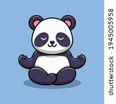 cute panda is meditating...   Shutterstock .eps vector #1945005958