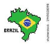 2d 8 bit pixel art brazil map... | Shutterstock .eps vector #1945028098