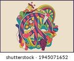 peace symbol 1960s hippie art... | Shutterstock .eps vector #1945071652