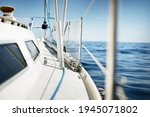 White Yacht Sailing In The...
