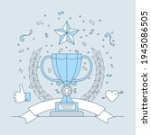 best place trophy with star... | Shutterstock .eps vector #1945086505