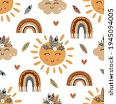 seamless pattern with tribal...   Shutterstock .eps vector #1945094005
