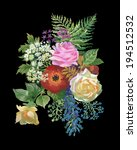 watercolor flowers bouquet  on...   Shutterstock . vector #194512532