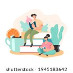 people students reading book... | Shutterstock .eps vector #1945183642