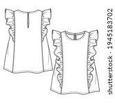 baby girls sleeveless top... | Shutterstock .eps vector #1945183702